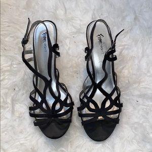 Fioni Night Black Heeled Sandals